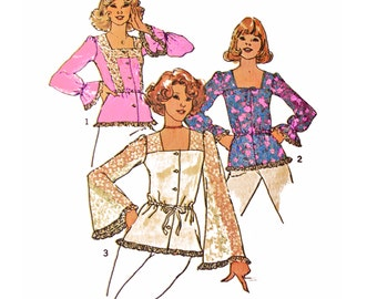 "1975 Boho Lace Trim Square Neck Set of Tops, Full Gathered or Bell Sleeves, Elastic or Drawstring Waistline, Simplicity 7233 Bust 34"" Uncut"