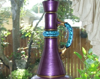 Purple Genie / Djinn Bottle I Dream of Jeannie Hand Painted Original Jim Beam Whisky Glass Bottle Decanter OOAK Gift