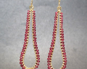 Hammered drops wrapped with ruby Luxe Bijoux 114