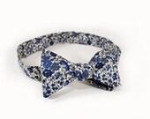 "Men's Bow Tie- Blue Floral  (Self Tie, 14.5""-18.5"")"