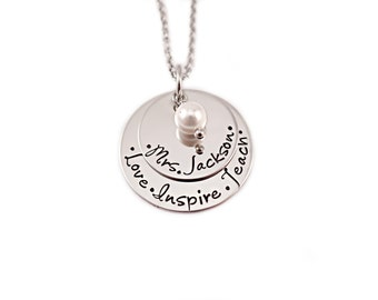 Personalized Teacher Necklace - Teacher Gift - Engraved Necklace - Love Inspire Teach - Teacher Appreciation - Personalized Jewelry Gift