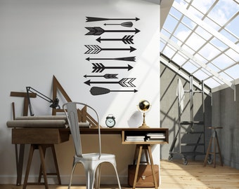 Feather Arrow Pattern with Various Mid Century Style Arrows  -  Wall Decal Custom Vinyl Art Stickers
