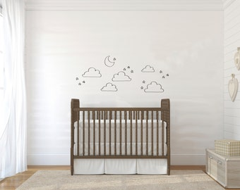 Doodle Moon, Clouds, & Stars - Wall Decal Custom Vinyl Art Stickers for Nurseries, Classrooms, Homes, Kids Rooms, Dorms