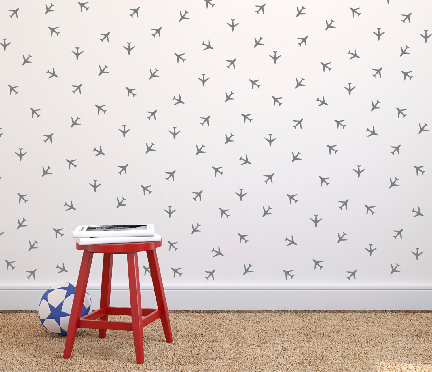 Airplane Tiny Decal Wall Pattern Repeatable Wall Decal