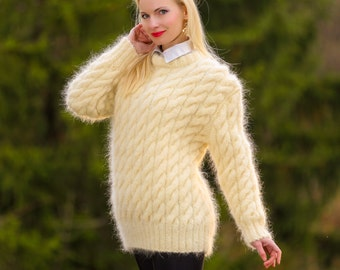 Custom made thick hand knitted mohair sweater with cables in ivory by SuperTanya