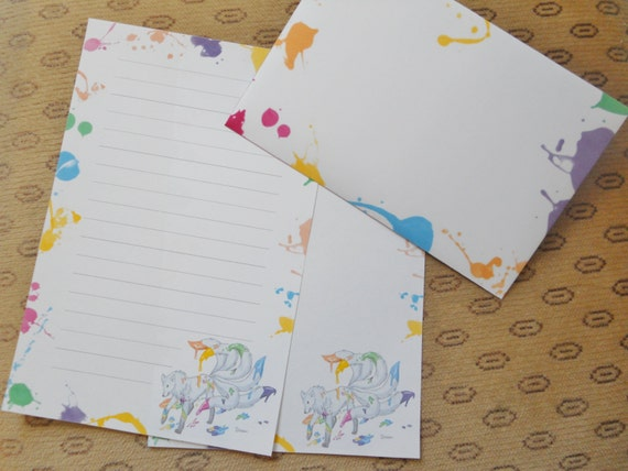 Letter paper set - colored envelopes - wolf tails - rainbow - writing paper - stationery