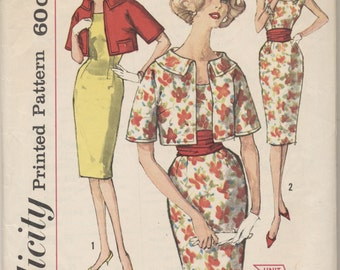 Vintage 1960 Simplicity Pattern 3625 Misses Dress & Jacket Size 14 Bust 34
