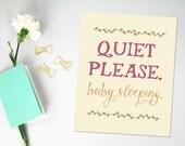 Nursery Decor, Baby Sleeping Sign, Berry and Pumpkin, Baby Wall Art, Baby Room Sign, Typography Print, Whimsical Minimal Modern, Minimalist