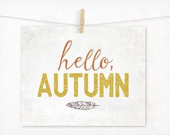 Fall Wall Art, Autumn Typography Art, Pumpkin Orange and Mustard Yellow, Fall Decor, Hello Autumn, Art Print, Typographic, Modern Boho