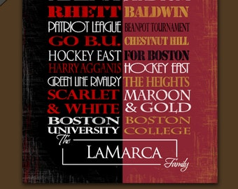 Boston University Terriers / Boston College Eagles House Divided: Print or Canvas, eagles hockey, eagles hockey, university of boston