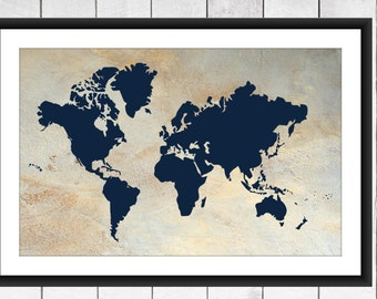 World Map Print - Modern Nursery Decor - Faux Tuscan Stucco Background.  Canvas Available