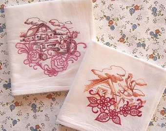 Embroidered Set of Barn and Weathervane Designs Flour Sack Kitchen Towels