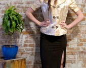 Gold Chinese Jacket - Vintage - Black Piping - Quilted Collar and Cuffs - Knot Buttons Fitted Style
