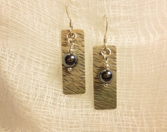 6mm Bead on Texture #1 Earrings, Hammered, Sterling Silver
