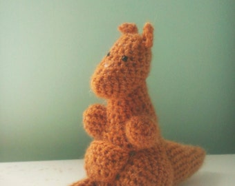 Kangaroo Crochet Stuffed Caramel Fuzzy Adorable Yarn Toy