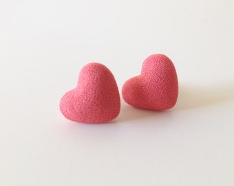 Coral Studs HEART Earrings Fabric Covered Pink Button Ear Posts Valentines day gift 01/15
