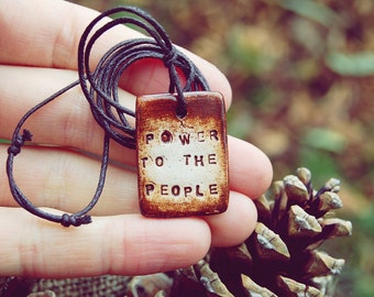 Custom Stamped Necklace - Rustic Pendant Gift for Men - Personalised Word Artisan Handcrafted Eco Jewelry - Earthy Primitive One Of A Kind