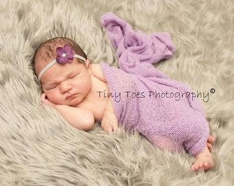 Itty Bitty Blossom Headband - purple and grey
