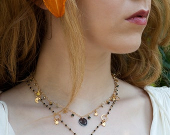 MOON CHARM NECKLACE - druzy necklace - star charm necklace - gold necklace - rosary chain - black spinel - bohemian jewelry - gypsy jewelry