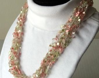 Peach Blossom Crochet Necklace