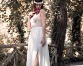 Boho Wedding Dress, Lace Wedding Dress, Long Wedding Dress, Unique Boho Gown, Gypsy Wedding Dress, Handmade Gown, Bohemian, SuzannaM Designs