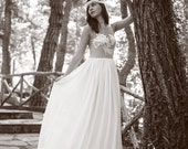 Cream Ivory Bohemian Wedding Dress Beautiful Lace Wedding Long Gown Boho Gown Bridal Gypsy Wedding Dress - Handmade by SuzannaM Designs