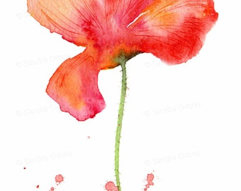 Orange and red poppy watercolor print - Small flower painting - 4x6 wall art print, with 5x7 mat