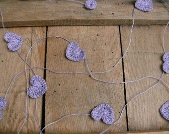 Crocheted lavender blue hearts Garland, Wedding garland, Wall Hanging, Crochet Wedding Garland, crochet ornaments, embellishment, applique