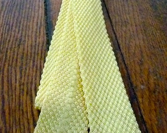 Square Woven Yellow Skinny Tie, pastel men's accessories, mod
