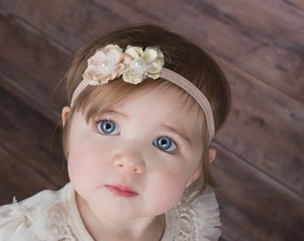 Peach and Ivory Flower Headband