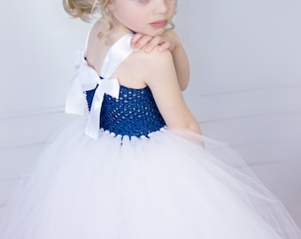 Navy Blue and White Couture Wedding Flower Girl Tutu Dress