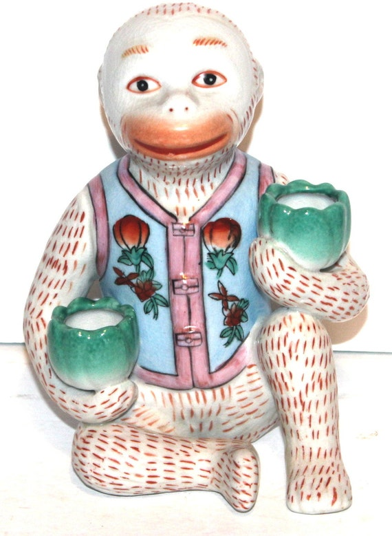 Vintage chinese porcelain lotus monkey good luck home decor for Good luck home decor