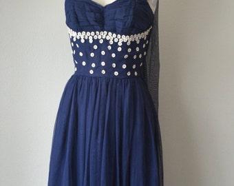 Midnight Blue Daisy 50s Prom Dress