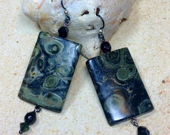 Kambaba Jasper Earrings Fossil Jewelry Heart Chakra Healing Energy Bohemian Zen Harmony