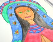 Original Painting: Holy Mother - Lady of Guadalupe - Virgin Mary - Mexican American Folk Art - Watercolor Spiritual Peace Christmas