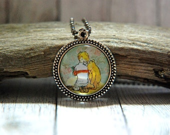 "1"" Round Glass Pendant Necklace or Key Chain - Winnie the Pooh and Christopher Robin"