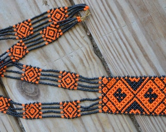 Amazing rare art deco loomed sead bead beaded flapper necklace in orange and black