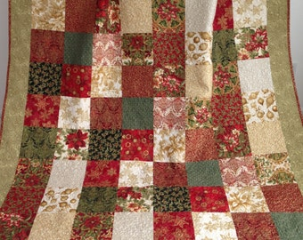 Modern Patchwork Holiday Quilt with Green Red Ivory Black Gold Metallic Accents