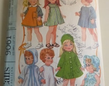 Vintage McCall's Pattern 9061 Size Small 12 to 16 Inch Baby and Toddler Dolls' Wardrobe  Cheerful Tearful, Snugglebun, Baby Sue,Baby Dear