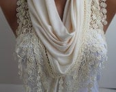 Creamy Shawl Scarf Ivory Lace Scarf  Oat Lace  Shawl Scarf Lace Scarf Fashion Women Accessories DIDUCI