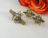 Big Bee Cufflinks Tie Bar Set of 3 Large Bold Statement Cufflinks Antiqued Brass Bees Gothic Victorian