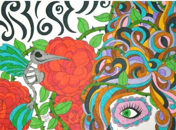 colorful skeleton drawings