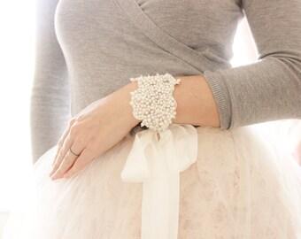 Bridal Pearl Crystal Cuff Bracelet