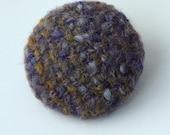 Handwoven brooch, heathery wool tweed, circular, made in Scotland