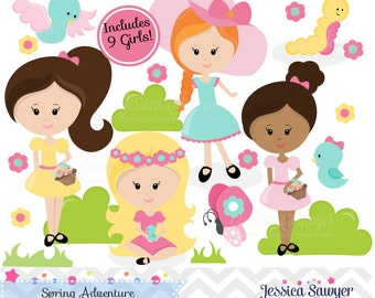 INSTANT DOWNLOAD, Little Girls Spring Clipart for Personal or Commercial Use.