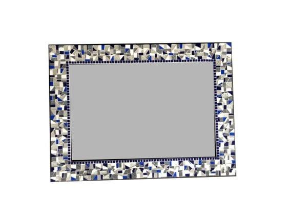 Mosaic Wall Mirror In Navy Silver Gray By GreenStreetMosaics