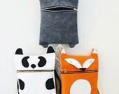 3 Animal Bags / Hungry Kitty Bag / Happy Fox Bag / Panda Bear Bag / Novelty bag / Animal Bag /Woodland Bag / Messanger Felt Bag