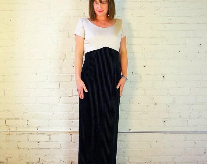 Elegant Black Velvet & Satin Gown MEDIUM 1970s Formal Dress Cream Top Velvet Pinstripe Skirt Sexy Back Slit Mother of the Bride Bianchi USA