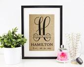 Personalized Burlap Monogram | Custom Burlap Print | Wedding Date Sign | Family Name Sign | Monogrammed Gifts | New Last Name Wall Art