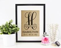 Personalized Burlap Monogram  Custom Burlap Print  Wedding Date Sign  Family Name Sign